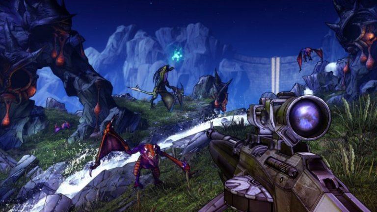 Pistola de Borderlands 2 apuntando a otros personajes del videojuego, hecho por Pitchford