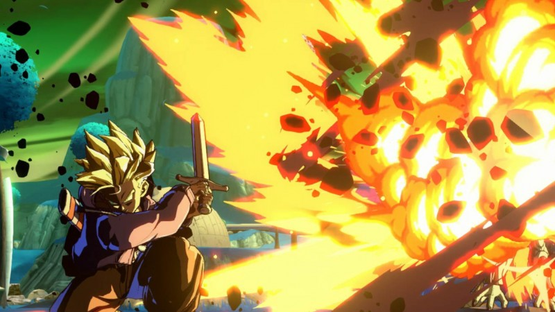 Goku deteniendo un ataque dentro de Dragon Ball FighterZ, juego premiado en Evo 2018