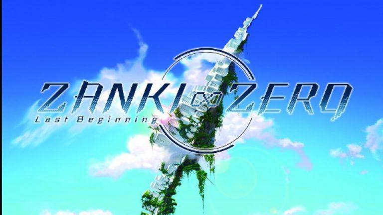Fondo azul simulando un cielo en donde aparecen las letras de Zanki Zero