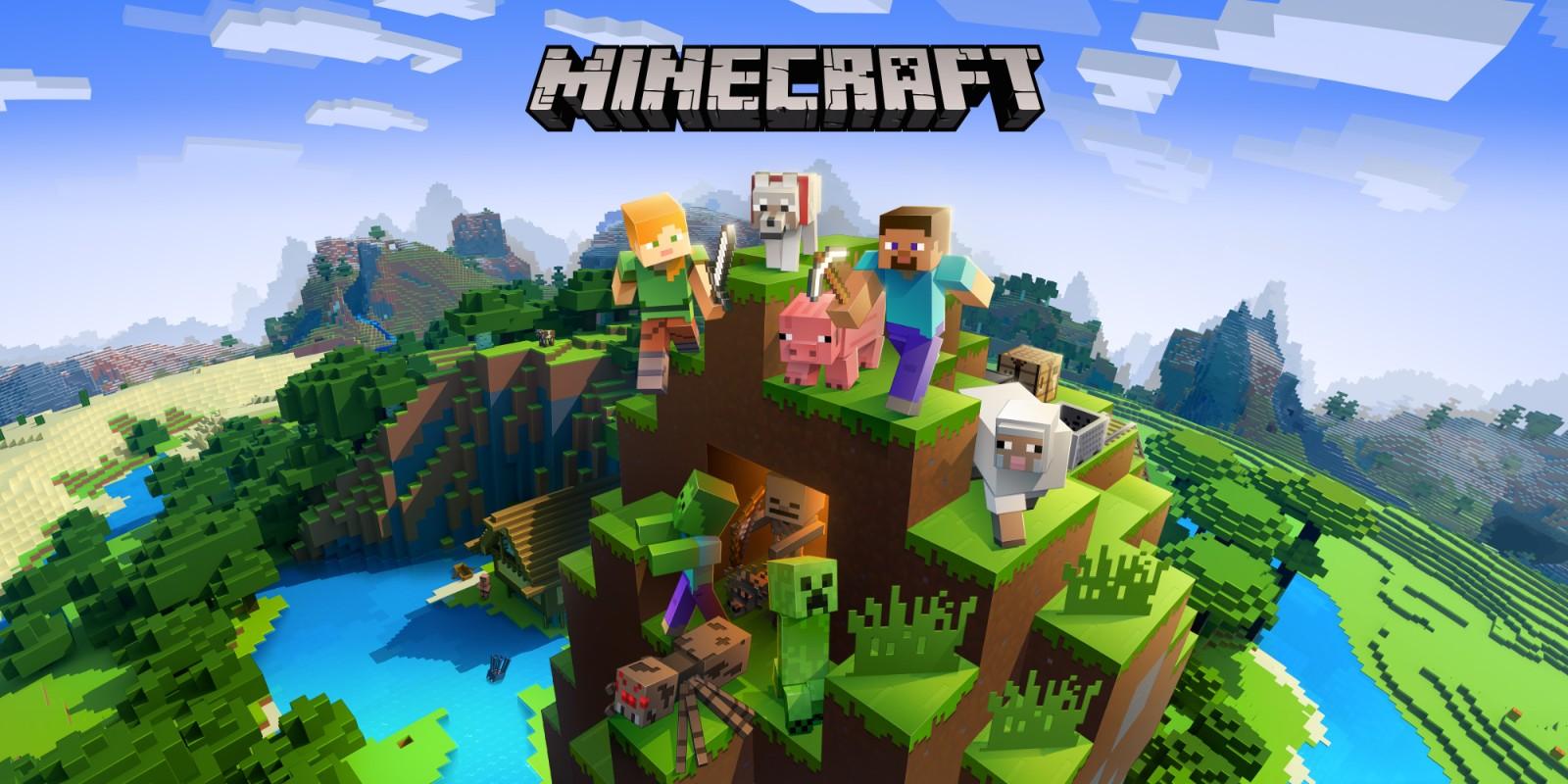 Portada oficial de Minecraft con todos los personajes