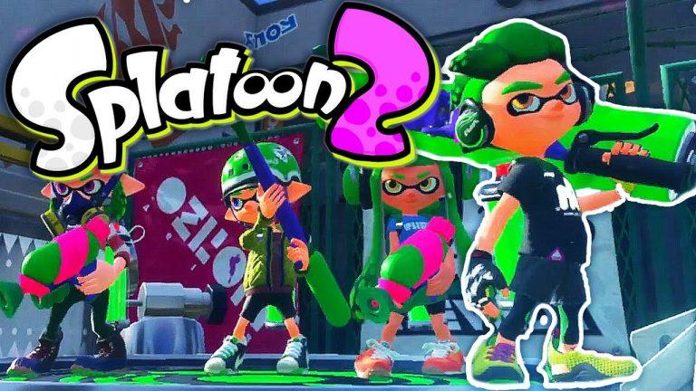 Personajes de Splatoon formados como en la portada